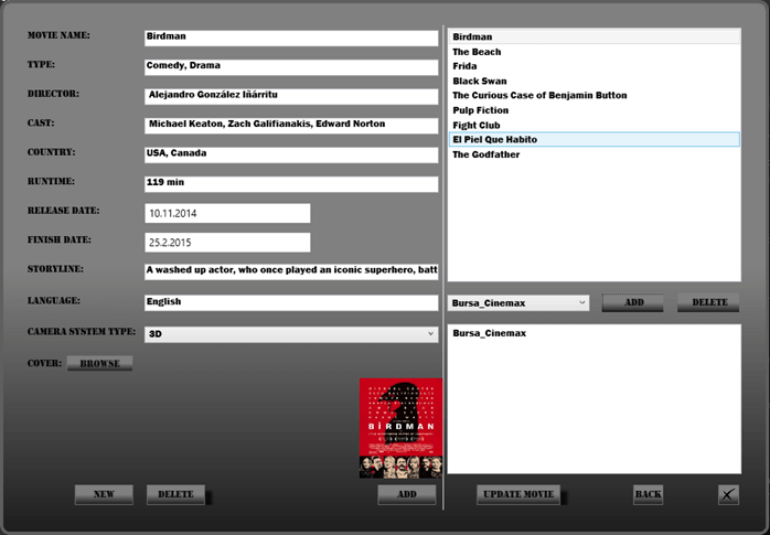 Sinema Bilet Otomasyon Programı Film Tanımlama