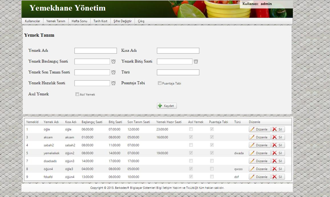 Yemekhane Kontrol Sistemleri Yemek Tanım Ekranı